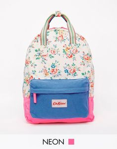Cath Kidston Small Cotton Backpack Cream Roses Pink, Rucksack School Bag - New