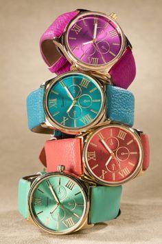 Bold & Beautiful Watch - Womens Gold & Leather Watch   Soft Surroundings