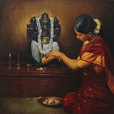 Tamil Mother offering flowers to elephant god Pillaiyar - Painting by S. Indian Women Painting, Indian Art Paintings, Indian Artist, Oil Paintings, Classic Paintings, Realistic Paintings, Ganesha Painting, Ganesha Art, Madhubani Painting