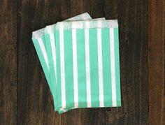 Aqua Blue Striped Treat Paper Bags    Christmas by BoxandBowsupply, $3.00