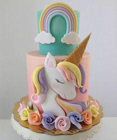 36 Ideas For Birthday Cake Unicorn Fondant Unicorn Birthday Parties, Unicorn Party, Cake Birthday, Rainbow Birthday Cakes, Bolo My Little Pony, Fondant Cakes, Cupcake Cakes, Unicorn Foods, Unicorn Cakes