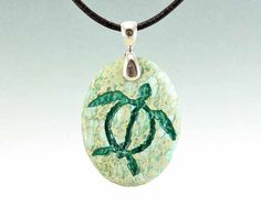 Honu Green Sea Turtle  Engraved Stone Pendant  by CreativeArtandSoul on Etsy.  One of the most revered Hawaiian petroglyphs is that of the Honu or green sea turtle, a sacred animal in Hawaiian culture. Honu is known as the navigator from its ability to travel great distances yet return annually to lay its eggs. Honu is also known to symbolize life force, longevity and good luck