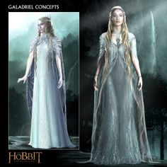 "Concept artwork from ""The Hobbit: An Unexpected Journey"" (2013) by Daniel Falconer.  While the designs for Lady Galadriel's gossamer gowns are undeniably exquisite, costumers ultimately chose silk chiffon shifts with simpler lines and Swarovski crystal beading."