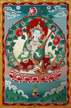 Sarasvati, the four-armed wisdom goddess, is the consort of Manjushri or Manjukumara, the 'Sweet-voiced youth'.