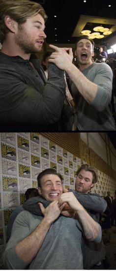 Chris Evans& Chris Hemsworth bromance