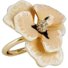 Pre-owned Ring with flower application ($92) ❤ liked on Polyvore featuring jewelry, rings, cream, flower jewellery, kenneth jay lane rings, pre owned jewelry, preowned jewelry and blossom ring