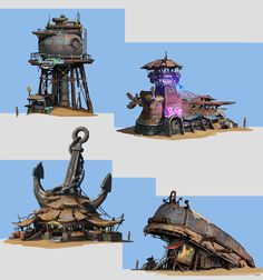ArtStation - new design with color, Dawnpu at Art vision studio Landscape Concept, Fantasy Landscape, Fantasy Art, Environment Concept Art, Environment Design, Post Apocalyptic Art, Building Concept, Base Building, Steampunk