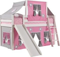 Tent Loft Bed with Slide and Top Tent Set includes 7 Pc Loft x x Find affordable Bunk/Loft Beds for your home that will complement the rest of your furniture. Pink Bedroom Design, Pink Bedroom Decor, Master Bedroom Interior, Bedroom Loft, Bunk Bed With Slide, Bunk Bed With Desk, Bed Slide, Bedroom Furniture Stores, Kids Room Furniture