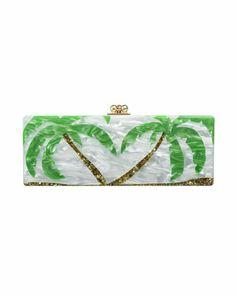 c388e3d89f90 Edie Parker Flavia Palm Trees Clutch Bag