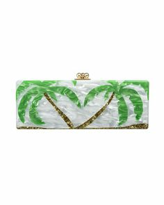 Flavia Palm Trees Clutch Bag, White/Gold/Green by Edie Parker at Neiman Marcus. Spring 2014 love it