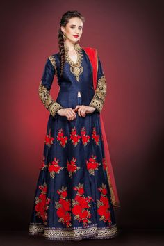 Navy Blue Raw Silk Designer Anarkali Suit 63180