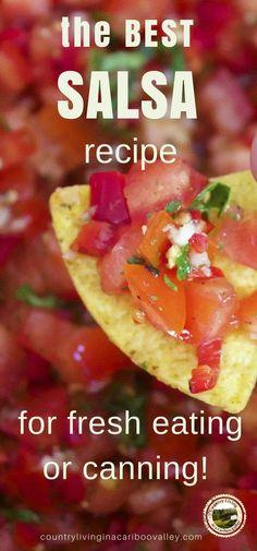 own fresh Salsa - full recipe and canning process!Make your own fresh Salsa - full recipe and canning process!your own fresh Salsa - full recipe and canning process!Make your own fresh Salsa - full recipe and canning process! Mexican Dishes, Mexican Food Recipes, Healthy Recipes, Healthy Eats, Best Salsa Recipe, Canning Process, Canning Salsa, How To Make Salsa, Homemade Salsa