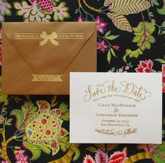 Gold Embossed Save the Dates