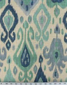 Django turquoise, Richloom, 55% linen / 45% rayon, 25.25/13.75 vertical/horizontal repeat.