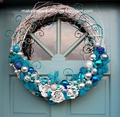 Make The Best of Things: Blue and White Wreath Redo Fourth Go Round