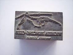 Vintage Advertising Wichita Fencing Club Printing Printers Letterpress Block