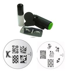 Konad Stamping Nail Art Set Includes Mini Stamper and White Special Polish   TWO Image Plates M63 Houndstooth   M64 Plaid *** You can get more details by clicking on the image.