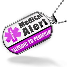 """#Gluten Free Neonblond Dogtag Medical Alert Purple """"Only gluten Free Allergy Safe"""" – Dog tags necklace « FourSeasonsGlutenFree.com"""