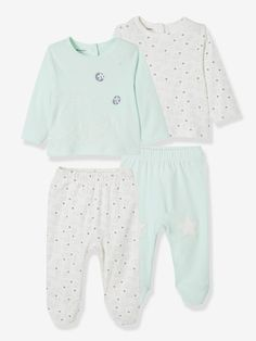 ee9fe221dd867 Lot de 2 pyjamas bébé 2 pièces coton - lot vert d eau