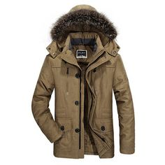 AFSJEEP Plus Size Winter Thicken Detachable Hood and Fur Collar Jacket for Men