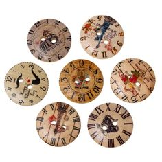 ZARABE 100PCs Wooden Buttons Cartoon Round Clock Pattern 2 hole Sewing Scrapbook DIY Handmade Craft -- Click image to review more details.