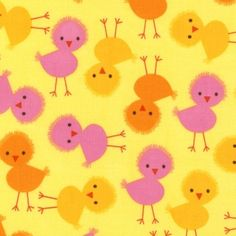 3 colors in this pattern. Manufacturer: Robert Kaufman Designer: Ann Kelle Collection: Urban Zoologie Part 3 Print Name: Chicks in Spring Tissu Minky, Retro Fabric, Fat Quarter Shop, Look Vintage, Robert Kaufman, Yellow Fabric, Baby Chicks, Urban, Baby Boutique