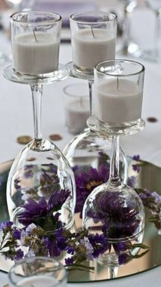 Inverted Wine Glasses with Glass Candle Votive and Round Mirror with touch of color!