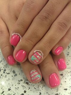 Pink, stripes, heart nails
