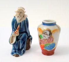 Antiques Vintage Large Solid Wooden Sculpture Oriental Man Hand-painted Figure Over 5 Kg Cheap Sales 50%