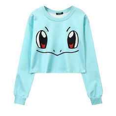 Women's Squirtle Jigglypuff Pikachu Crop Top Harajuku Loose 3D Pokemon cartoon Print Sweatshirt Ladies' Pullover WH-043