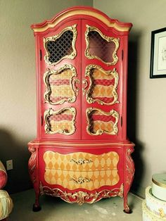 Gorgeous cabinet painted with the 'Reds' by Heirloom Traditions Paint Co.