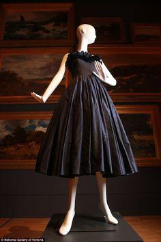 This silk taffeta dress was made in 1949 by French designerEdward H. Molyneux