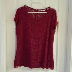 NY&CO Lace Top NY&CO Lace Overlay top with cobtrasting solid sleeves and back. With Lace detail in the back and back zipper. Never worn. The color is a berry color not red or burgundy. New York & Company Tops Tees - Short Sleeve