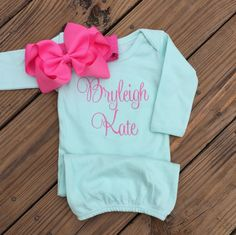 Monogrammed gown and bow, baby girl coming home outfit, newborn pictures, hospital outfit Going Home Outfit, Girls Coming Home Outfit, Newborn Pictures, Baby Pictures, Newborn Outfits, Kids Outfits, Baby Outfits, Baby Gown, Baby Girl Gifts
