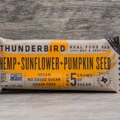 Hemp Sunflower - Thunderbird Real Food Bars are 100% soy free, dairy free, gluten free, no added sugar energy bars gives you the same clean burning fuel humans have enjoyed over the last 10,000 years. Our wrapper is 100% biodegradable and compostable leav