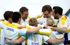 Team Sweden celebrates after defeating China during the Bronze medal game (c) Getty Images