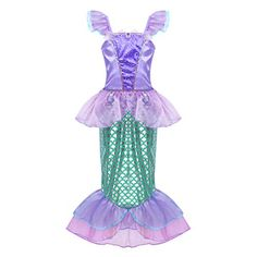 fd7904cfa72a Freebily Kids Girls Mermaid Costume Halloween Cosplay Party Cap Sleeves  Sequins Scales Printed Dress