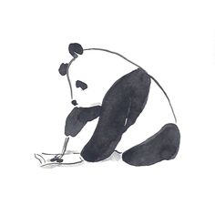 "The art of writing down while brushing up. Part of Pandagrams: Plainly Pandas, a set of five 3"" x 3"" cards featuring punny pandas--black & white & fun all over!"