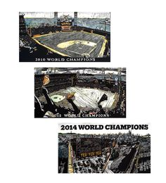 """Our Giants Dynasty collection by Eric Rewitzer, celebrating our boys in black and orange winning the World Series in 2010, 2012, and 2014. Set of three oversized 6"""" x 11"""" postcards offset printed on 16 pt. card stock. Suitable for framing."""