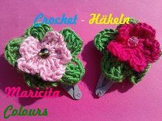 """Crochet Tutorial Ganchitos con Flores """"Maricita""""  Hair Clip por Maricita Colours - YouTube"""