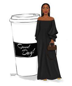 Black Girl Art, Black Art, Art Girl, Louis Vuitton Nails, Girl Clipart, Expensive Taste, Dope Art, Coffee Love, Urban Art