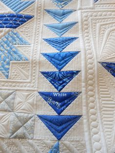Flying geese quilting by Green Fairy Quilts   like the blue and white AND the  quilting!!