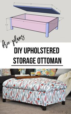 The best DIY projects & DIY ideas and tutorials: sewing, paper craft, DIY. DIY Furniture Plans & Tutorials : Make your own DIY upholstered storage ottoman - it is super easy! This tutorial shows you how - from building the frame Diy Furniture Plans, Diy Furniture Projects, Woodworking Projects Diy, Diy Wood Projects, Furniture Making, Home Furniture, Woodworking Shop, Green Woodworking, Wood Crafts