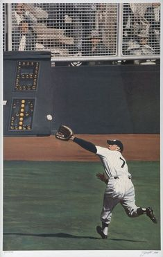 Mantle helps save Don Larsens Perfect Game with this spectabuloustical Catch in 1956 World Series. #baseballgame