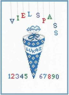 Lisa, Cards, Cross Stitch, Crosses, Linen Fabric, Embroidery, Blue, Entering School, Hand Crafts