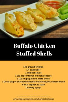 Buffalo Chicken Stuffed Shells, Everyone loves buffalo hot sauce - but mixed with chicken and ricotta and monterey jack all in a pasta shell Jumbo Pasta Shells, Stuffed Pasta Shells, Buffalo Chicken Stuffed Shells, Ground Chicken, New Recipes, Holiday Recipes, Garlic Chicken, Easy Chicken Recipes, Recipe Using