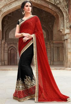 Charming Black and Rust Red Saree