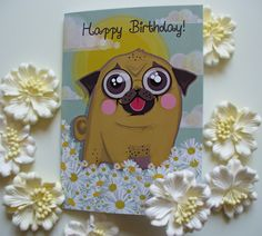 by Flyingpugwithballoon on Etsy #birthdaycard #happybirthday #pugbirthdaycard #birthdaygift #daisies #floralcard #spring #sunshine #etsyshop #etsylove #etsy #pastelcolors #flowers #funnypug #pugs #puglovers #dogloverscard #sweetpug #cutegift