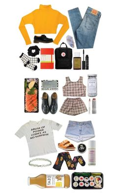 """hey im getting better at this (done by lil again)"" by psychedaleks-99 on Polyvore featuring Levi's, Burke Decor, Fjällräven, Korres, NARS Cosmetics, Dr. Martens, Moleskine, American Apparel, Herbivore Botanicals and Birkenstock @lqccii try grid print or primary colors on top and then something neutral on the bottom. try a blue top w/ a tan skirt and maybe burgundy tights"