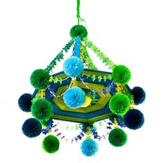 Pająk - Folk Chandelier in blue made of straws, tissue paper, and wool by polish folk artist.